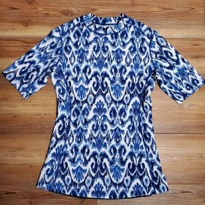 Coolibar Women's Blue Printed Rash Guard S